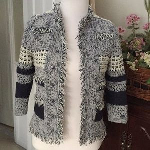 Chico's blue and white open sweater